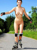 Anna skates outdoors and poses pix