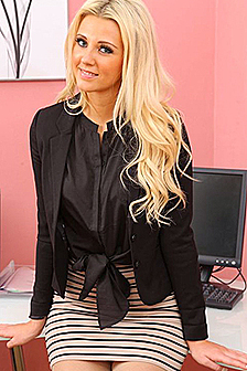 Beauty Blonde Stripping In Her Office