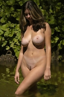 Sexy Teen Outdoor Poses With Big Natural Tits