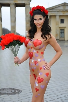 Micaela Schaefer In Body Paint For Valentines Day