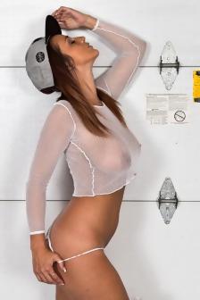 Nikki Sims In White Mesh Top