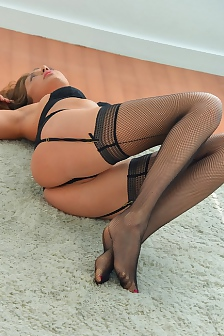 Long Legged Amateur Elena In Sexy Black Stockings