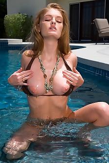 Faye Reagan Bikini Strip In Pool With Wild Dildo