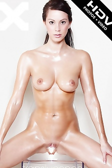 Kat Sexy Slim Brunette With Naked Oiled Body