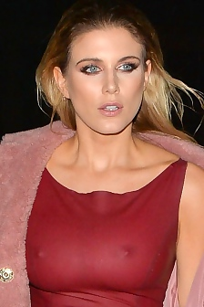 Ashley James Nipples In See Through Burgundy Dress